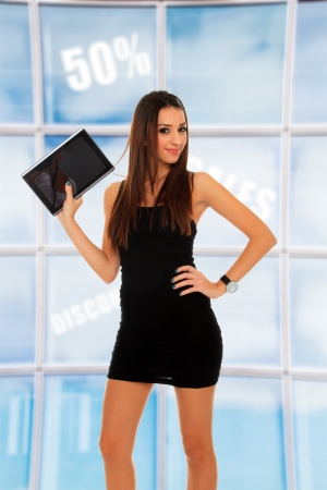 joy pad: Business woman using a table PC Stock Photo