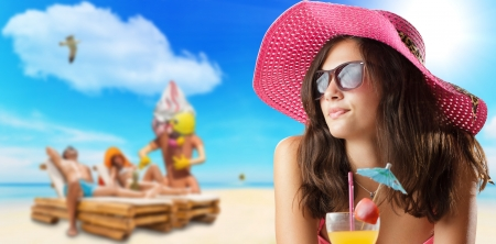 travel agency: young woman at the beach travel concept Stock Photo