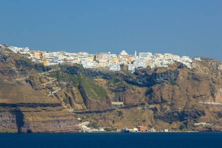 fira: Overview on Fira in Santorini Greece Stock Photo