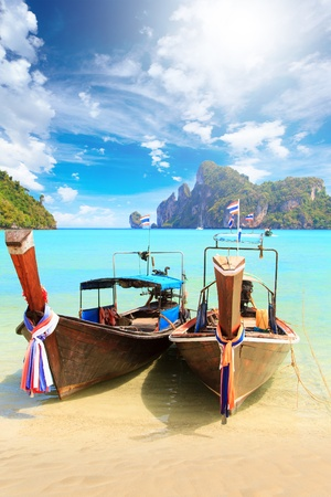 longtail: Long tailed boat Ruea Hang Yao in Phi Phi island Thailand Stock Photo