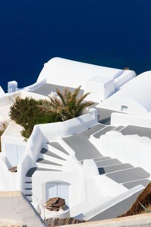 Traditional blue dome church in Santorini Greece photo