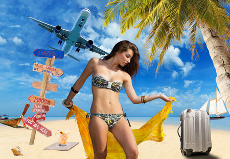 Young woman on the beach Travel concept photo