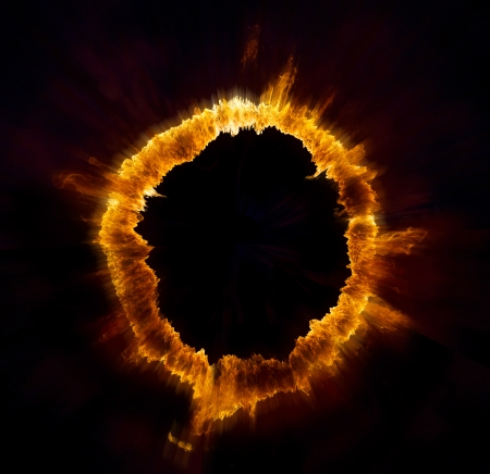 Ring of fire on black background photo
