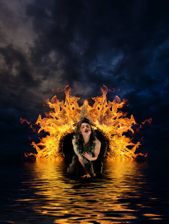 Woman at hells door dramatic background photo