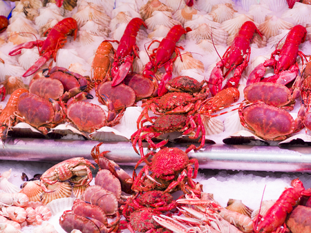 Fresh seafood in fish market in Paris France - food background photo