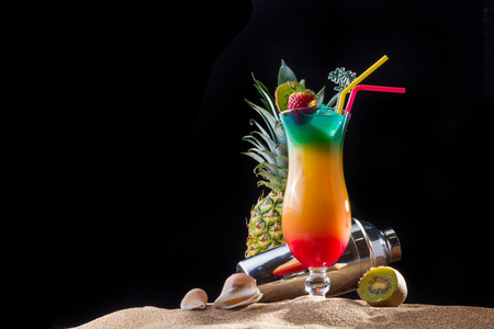 Fresh tropical sex on the beach cocktail with shaker