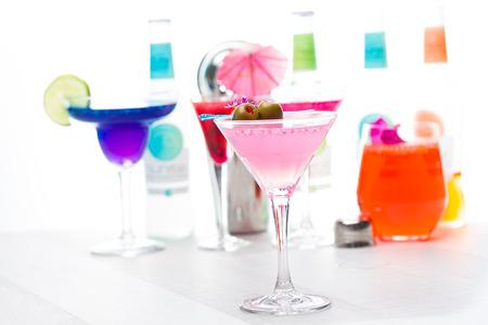 bartending: Molecular mixology - Cocktail with caviar and flower petals Stock Photo