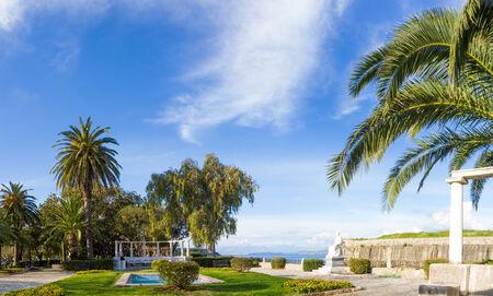 kerkyra: Ornamental Gardens and Fountain in Kerkyra Greece Stock Photo