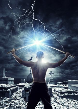 Warrior with his Katana sword at the graveyard Stock Photo