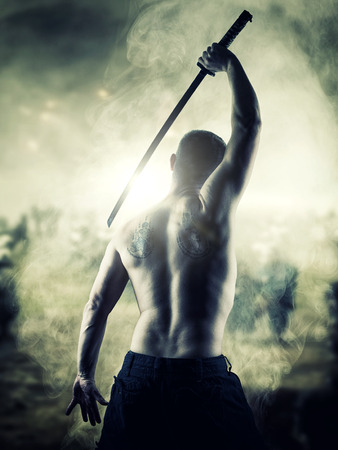 shirtless man: Warrior with his Katana sword