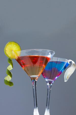 bartending: Molecular mixology - whisky acocktail and raspberry sphere Stock Photo