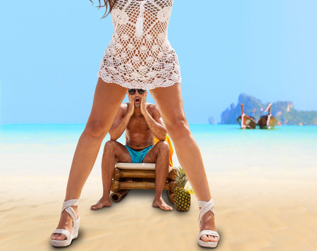 Couple on the beach at tropical resort Travel concept photo