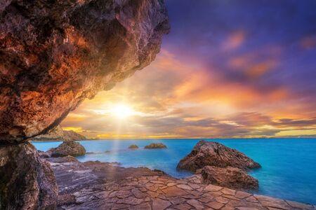 expanse: Agios Nikitas at sunset - Lefkas island Greece
