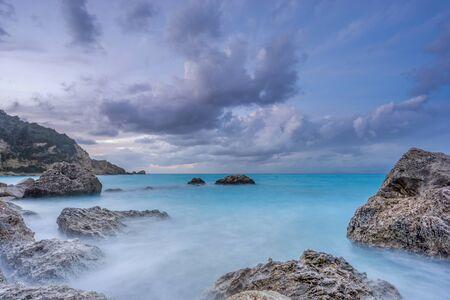 expanse: Agios Nikitas Lefkas island Greece at dusk