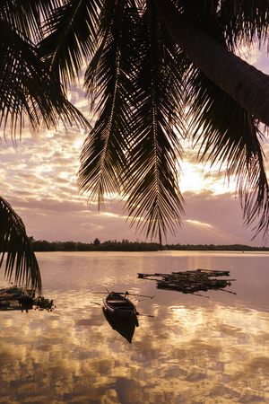 River at Hoi An Vietnam at sunset Stock Photo