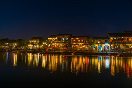 HOI AN, VIETNAM - FEBRUARY 18, 2017: Night the promenade town of Hoi An. Tourist landmark of the city Hoi An. Vietnam