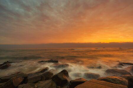 Sunrise at the beach in Hoi An Vietnam Stock Photo