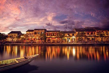 HOI AN, VIETNAM - FEBRUARY 18, 2017: Night the promenade town of Hoi An. Tourist landmark of the city Hoi An. Vietnam