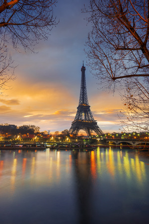 The Eiffel tower at sunrise in Paris France Stock Photo