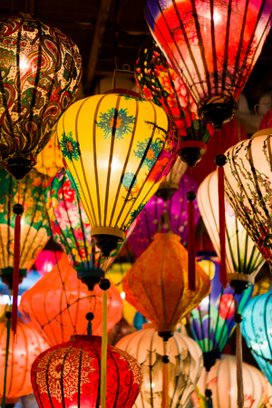 Colorful lanterns at the market street of Hoi An Ancient Town. Vietnam. Stock Photo