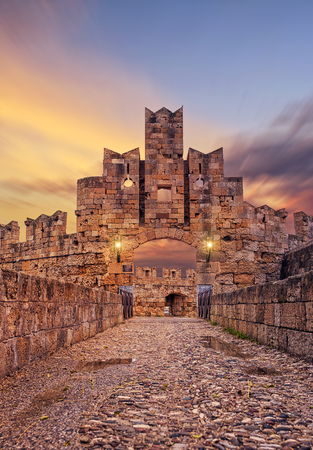The old medieval  town of Rhodes in Greece