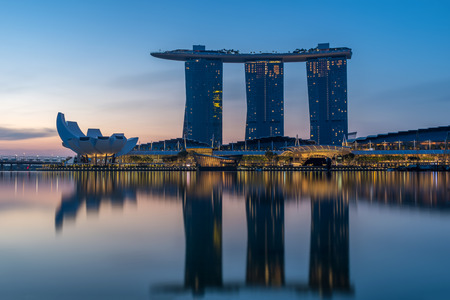 SINGAPORE CITY, SINGAPORE - APRIL 13, 2018: Marina Bay Sands at sunrise the largest hotel in Asia. It opened on 13 April 2010. Singapore on April 19, 2018 Editorial