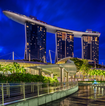 SINGAPORE CITY, SINGAPORE - APRIL 14, 2018: Marina Bay Sands at night the largest hotel in Asia. It opened on 27 April 2010. Singapore on April 14, 2018