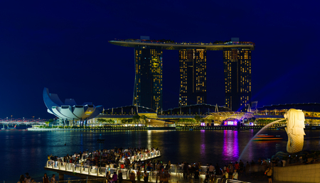 SINGAPORE CITY, SINGAPORE - APRIL 16, 2018: Marina Bay Sands at night the largest hotel in Asia. It opened on 27 April 2010. Singapore on April 16, 2018