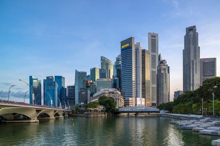 SINGAPORE - APRIL 20 2018 : Singapore city skyline or cityscape and financial district financial hub.