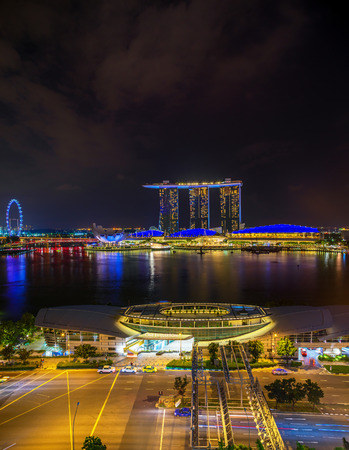 SINGAPORE CITY, SINGAPORE - APRIL 22, 2018: Marina Bay Sands at night the largest hotel in Asia. It opened on 27 April 2010. Singapore on April 22, 2018 Editorial