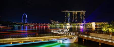 SINGAPORE CITY, SINGAPORE - APRIL 15, 2018: Marina Bay Sands at night the largest hotel in Asia. It opened on 27 April 2010. Singapore on April 15, 2018 Editorial