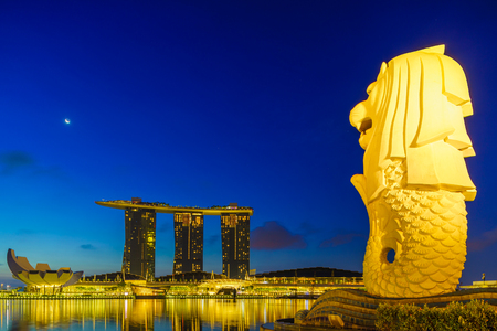 SINGAPORE CITY SINGAPORE: APRIL 20 2018: Singapore Merlion Park downtown Singapore  business district. The Merlion is the symbol of SIngapore Editorial