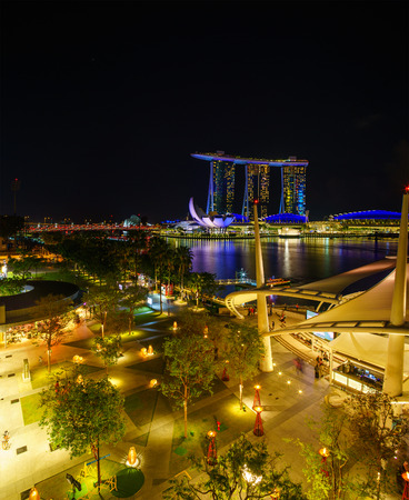 SINGAPORE CITY, SINGAPORE - APRIL 21,2018: Marina Bay Sands at night the largest hotel in Asia. It opened on 27 April 2010. Singapore on April 21, 2018