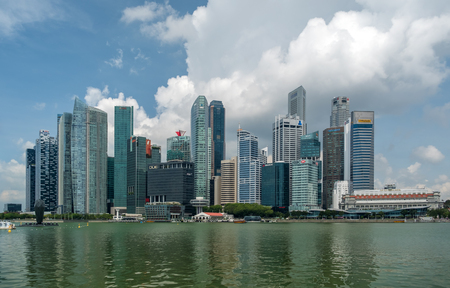 SINGAPORE - APRIL 18 2018 : Singapore city skyline or cityscape and financial district financial hub.