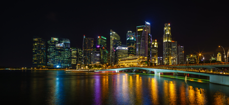 Singapore, Singapore - APRIL 13, 2018: View at Singapore City Skyline, which is the iconic landmarks of Singapore