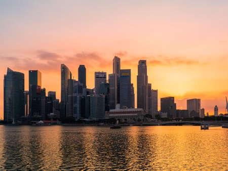 Singapore - February 10 2020: Singapore Cityscape Financial building in Marina Bay area Singapore at Dusk Editorial