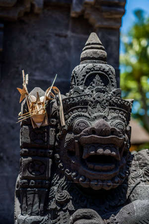Statue at the temple in Bali Indonesia