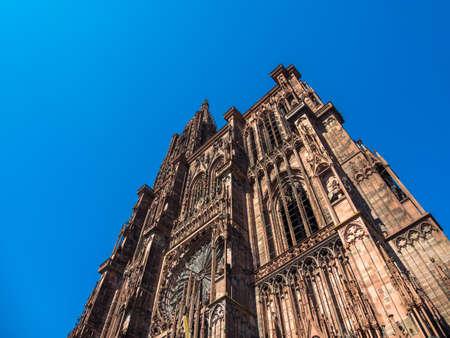 Outside of the Notre dane de Strasbourg Cathedral in Alsace France Banque d'images