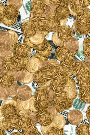 Lots of gold coins and 100 USD bank notes