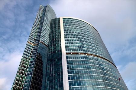 Moscow city skyscraper close up photo
