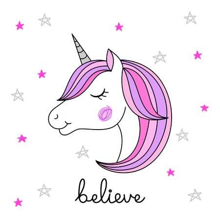 Head of hand drawn unicorn on white background. Positive card. Vector illustration.