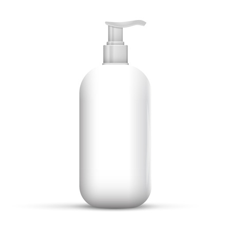 Plastic Clean White Bottle With Dispenser Pump. Shower Gel, Liquid Soap, Lotion, Cream, Shampoo, Bath Foam. Ready For Your Design. Illustration Isolated On White Background.