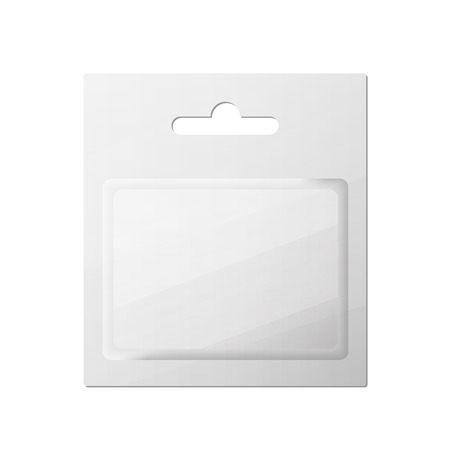 blister: Plastic Transparent Blister With Hang Slot, Product Package. Illustration Isolated On White Background.