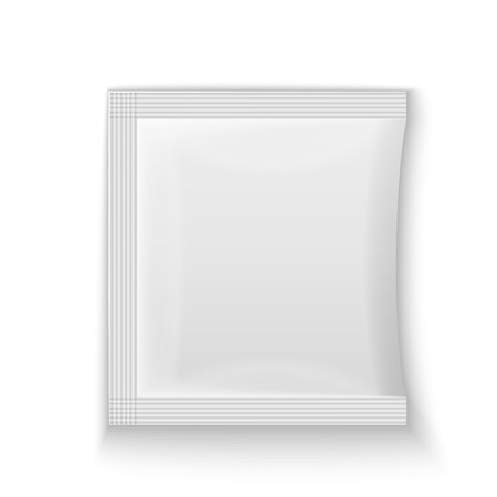 condoms: Blank white plastic sachet for medicine, condoms, drugs, coffee, sugar, salt, spices, isolated on grey background with place for your design and branding.  Illustration