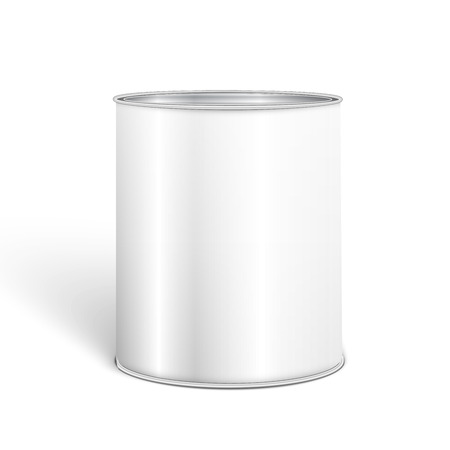 White Blank Tincan Metal Tin Can, Canned Food. 矢量图像