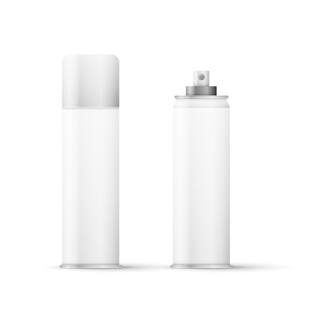 White metal bottle with sprayer cap for cosmetic, perfume, deodorant or freshener or hairspray. Vector
