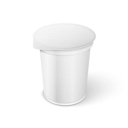 White Short And Tub Food Plastic Container For Dessert, Yogurt, Ice Cream, Sour Sream Or Snack.