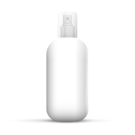 hairspray: White metal bottle with sprayer cap for cosmetic, perfume, deodorant or freshener or hairspray.