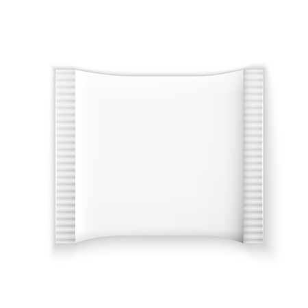 condoms: Blank white plastic sachet for medicine, condoms, drugs, coffee, sugar, salt, spices, isolated on grey background with place for your design and branding.