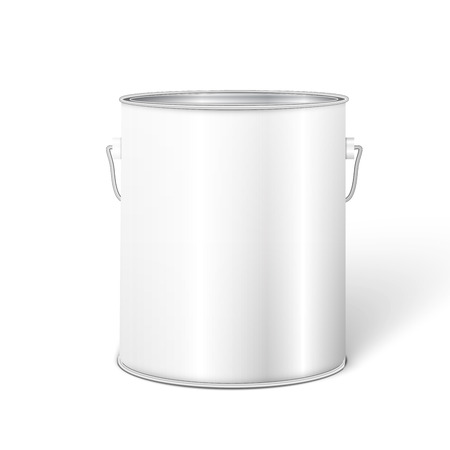 White Tall Tub Paint Bucket Container With Metal Handle. Vector